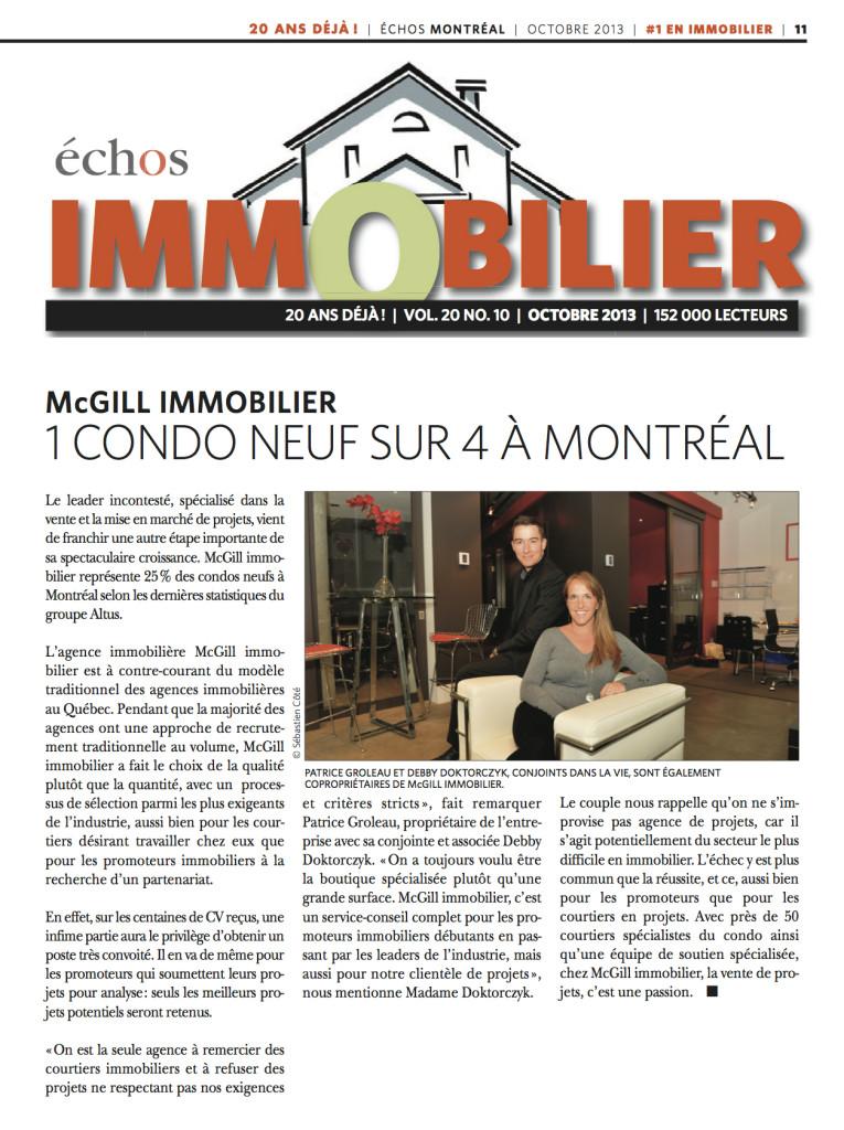 Patrice Groleau et Debby Doktorczyk McGill immobilier Condo Montréal Immobilier Montréal
