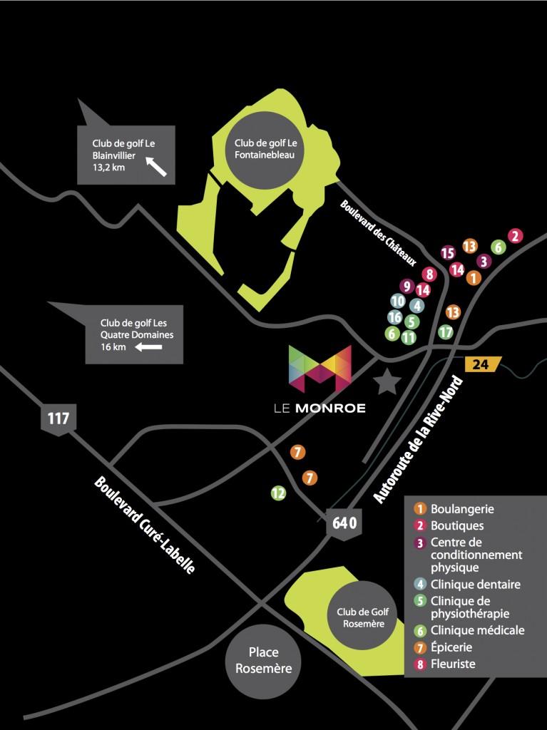 Map Condos Le Monroe Fontainebleau Blainville