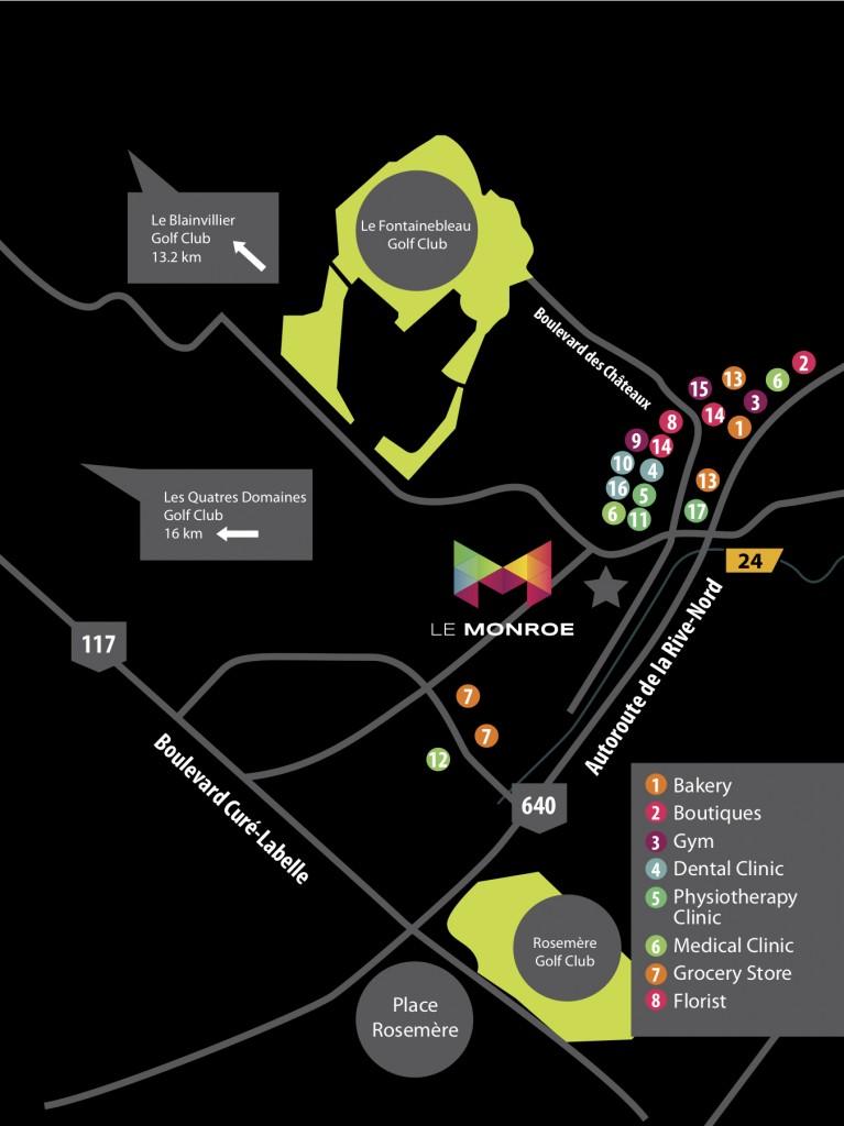 Monroe Condo Blainville Map